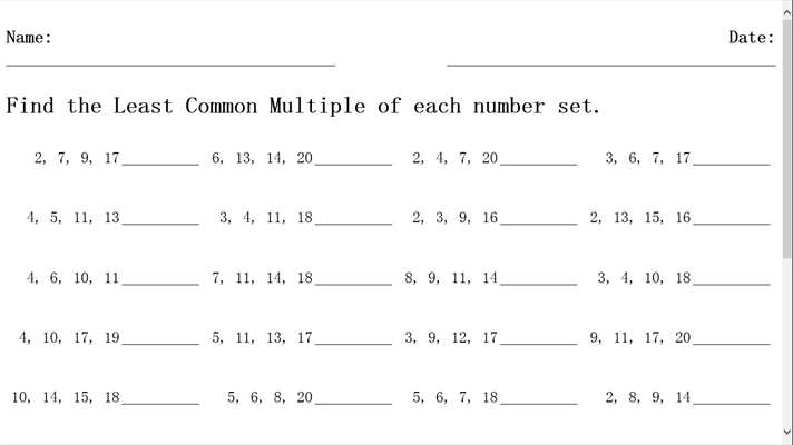 Worksheets For Least Common Multiples - worksheets for least ...
