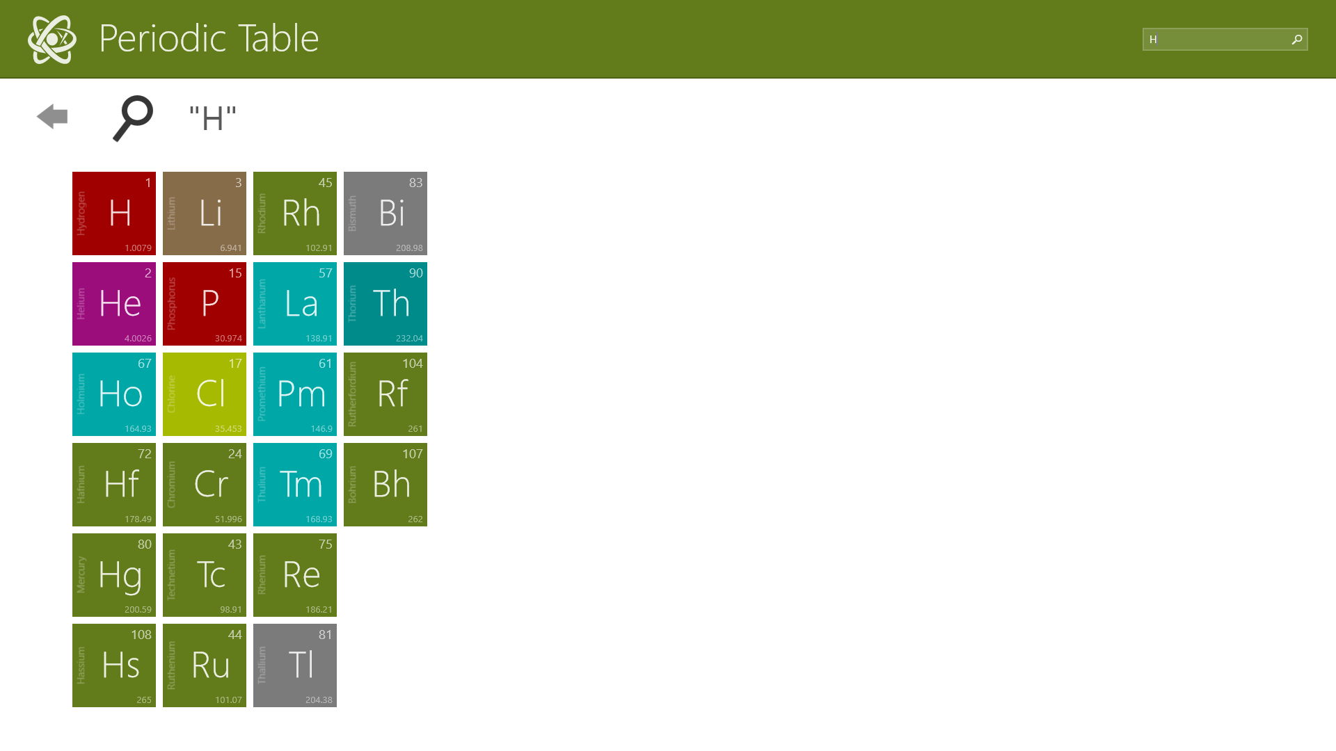 Periodic table chemistry free windows phone app market for 99 periodic table