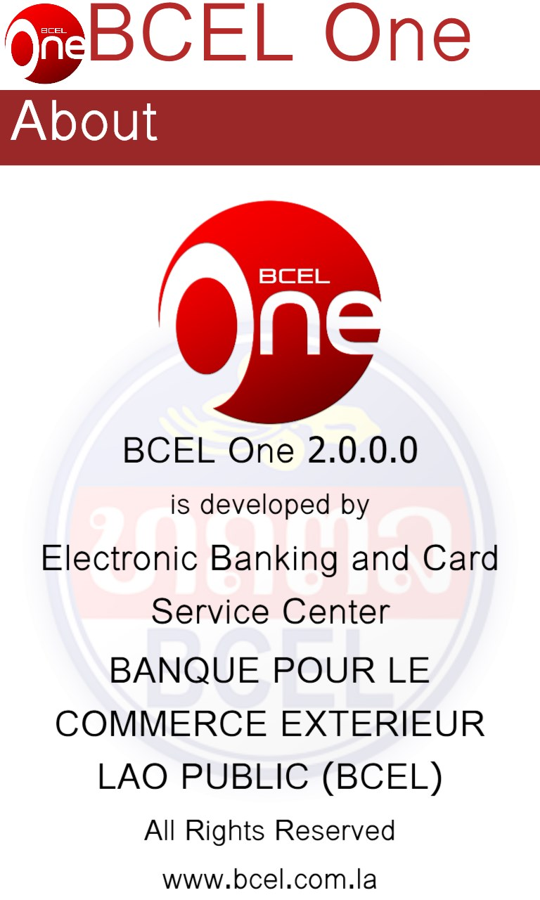 Bcel one free windows phone app market for Banque pour le commerce exterieur lao public