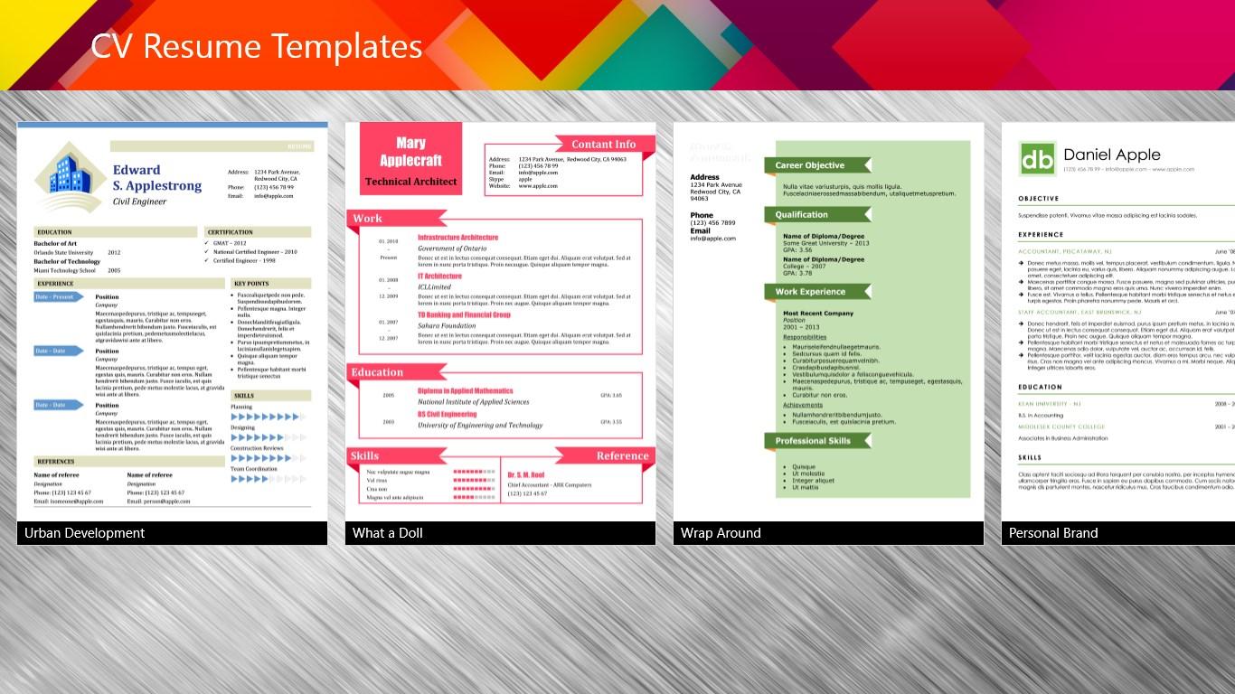 cv resume templates for windows 10