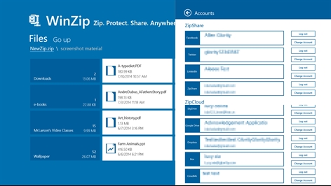 WinZip for Windows 8 Screenshot