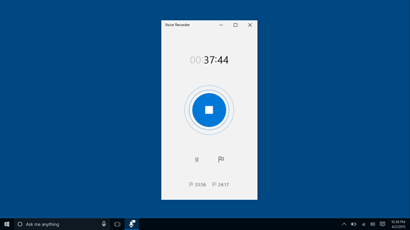 Screenshot: Start a recording with the press of a button.