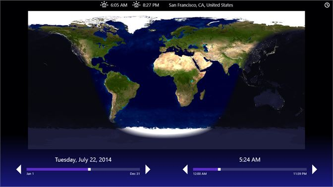Buy day night map microsoft store screenshot main screen showing the regions of day light and night at a given date gumiabroncs Choice Image