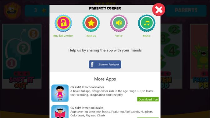 Application Home Page; Parents Section ...