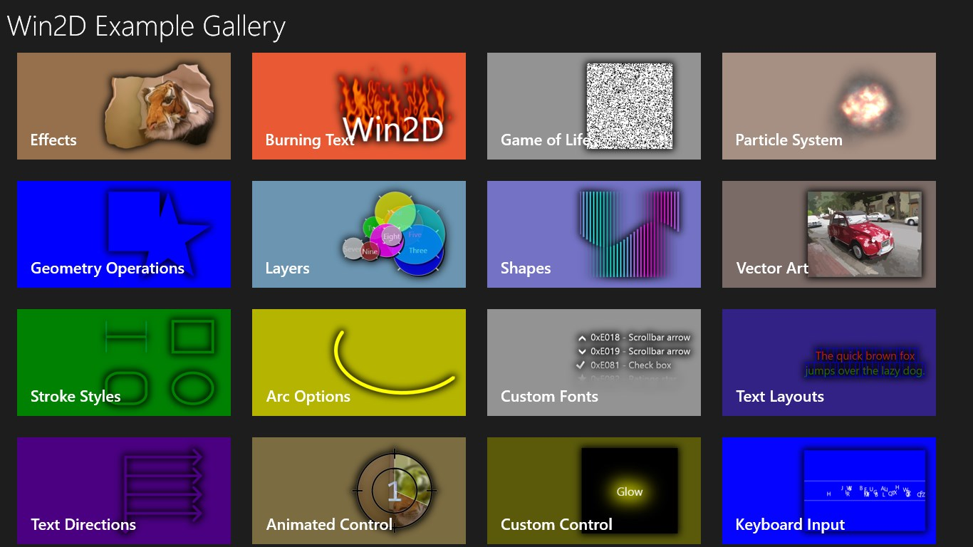 Win2D Example Gallery