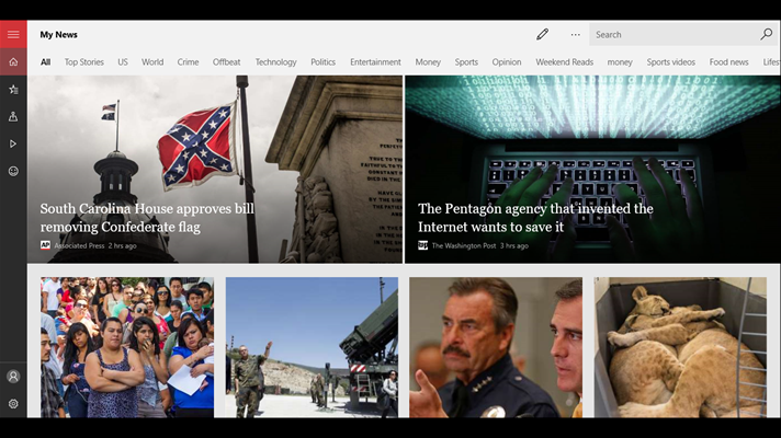 Screenshot: MSN News - Follow any news that interests you...