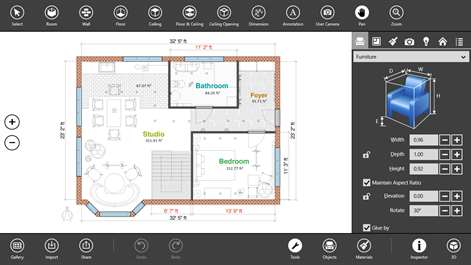 screenshot create 2d floor plans with annotations and measurements
