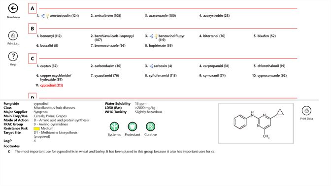Buy periodic table of fungicides microsoft store screenshot this view shows an alphabetical listing of all fungicides a fungicide is selected urtaz Choice Image