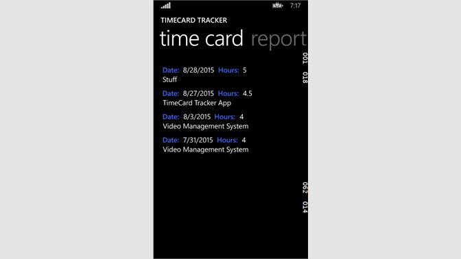 screenshot time card display - Time Card Tracker