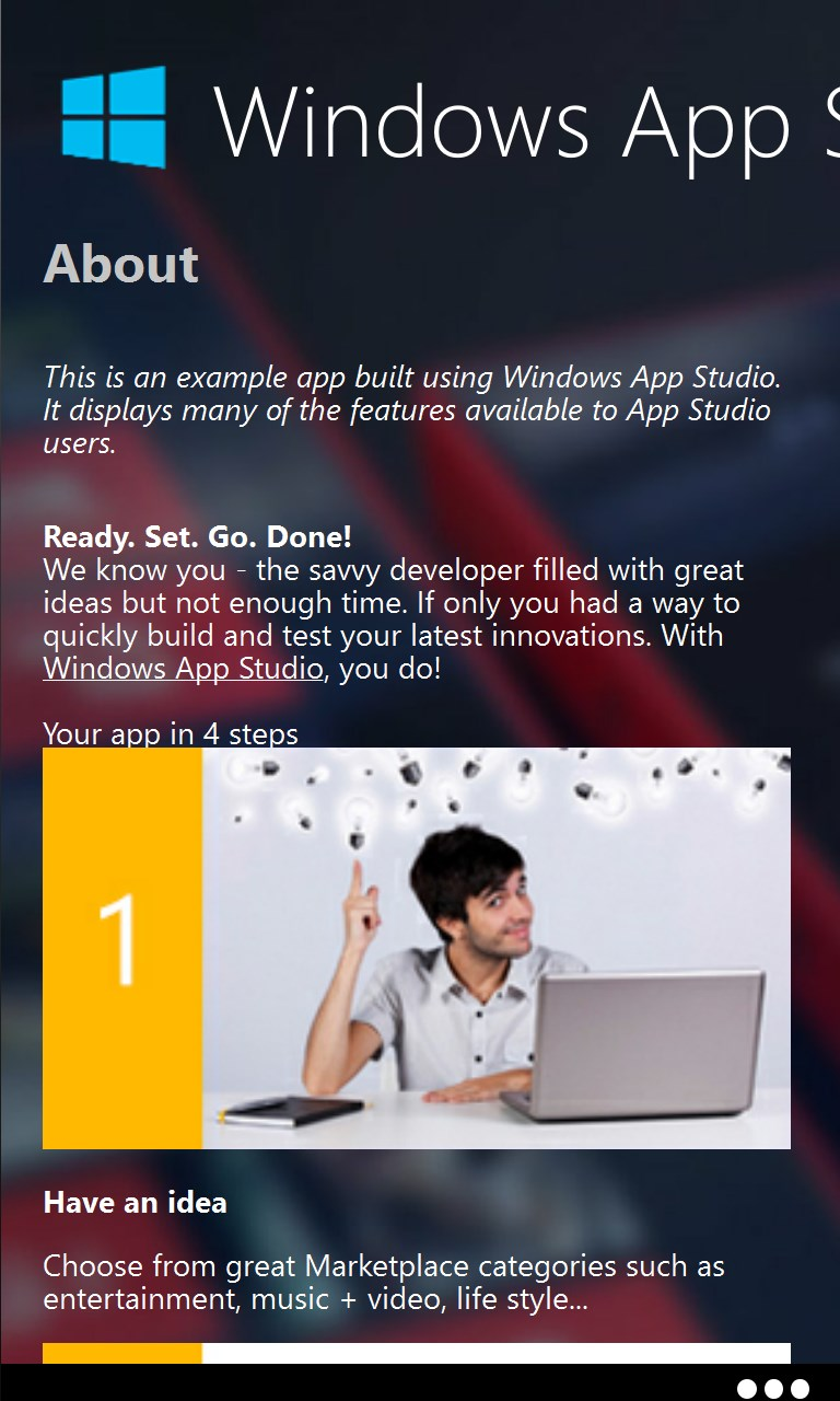 Windows App Studio Sample App Screenshots - Appx4Fun