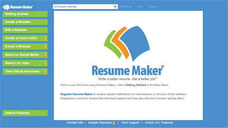 screenshot every tool you need to create a resume is on the main menu