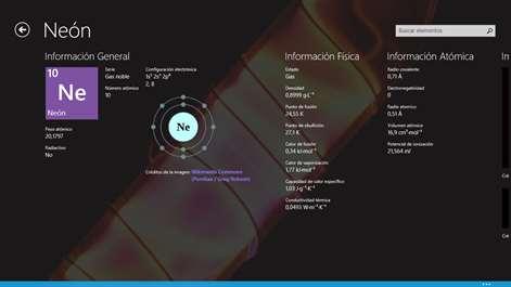 captura de pantalla informacin detallada del elemento - Tabla Periodica Interactiva Windows