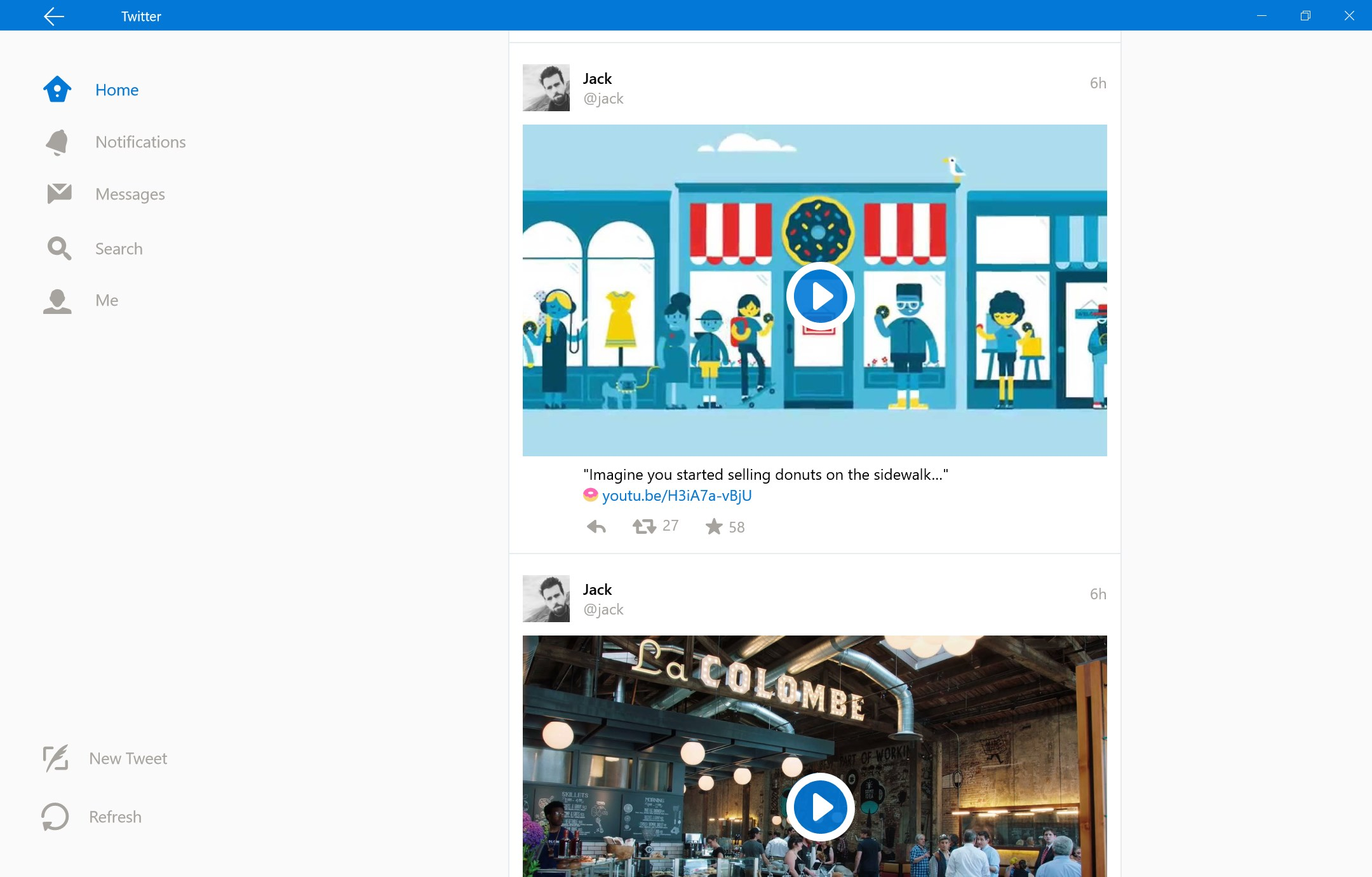 Here's how the Twitter for Windows 10 app will look