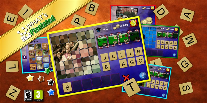Get What's Pixelated - word picture guessing rearranging puzzle game