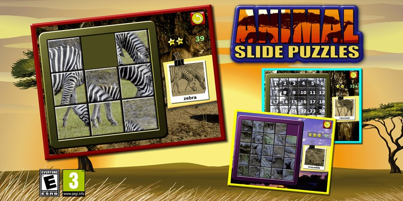 Get Kids Animal Slide Puzzle 15 - mystic squares shape