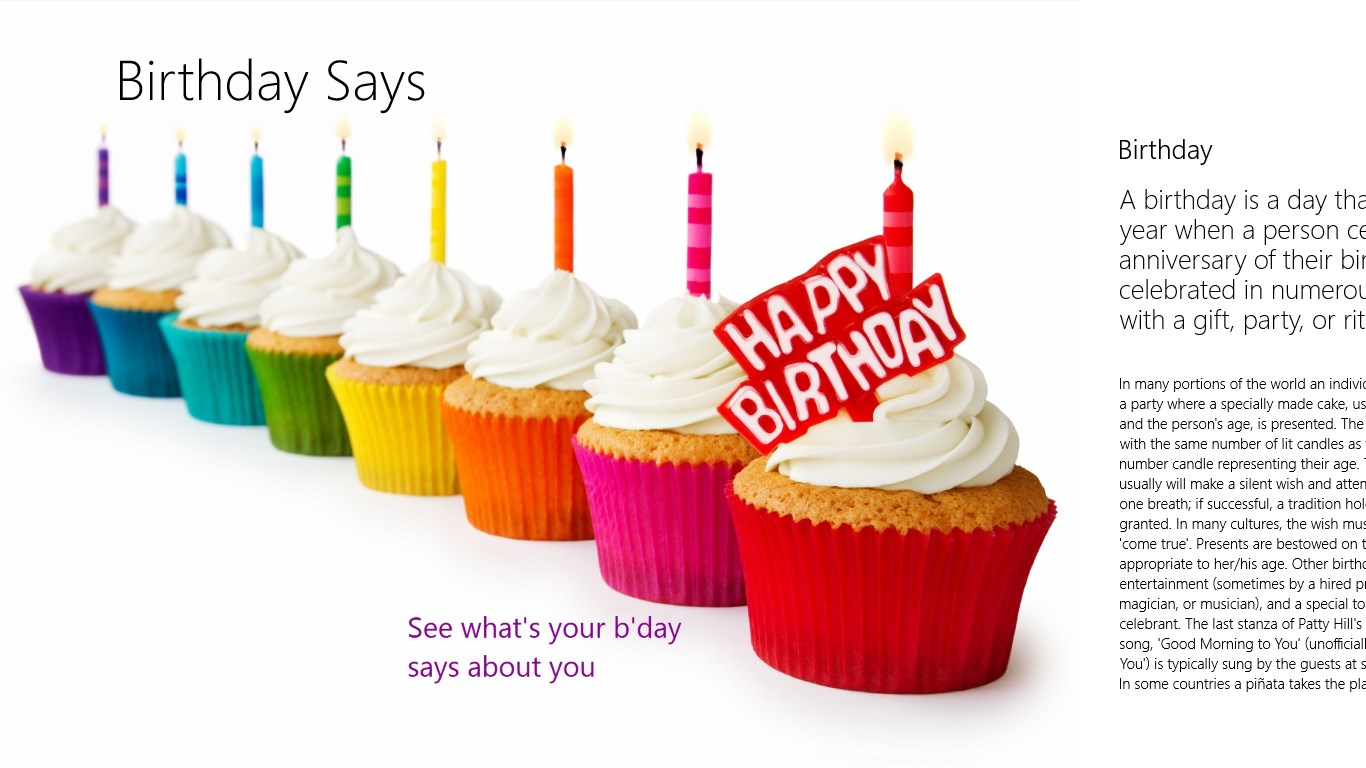 Get Birthday Says Microsoft Store