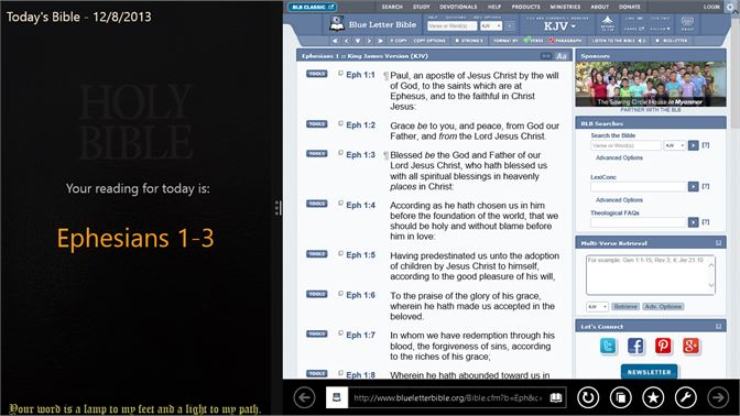 click the verse reference to see blue letter bible