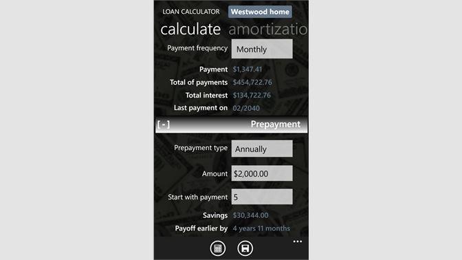 get loan calculator microsoft store