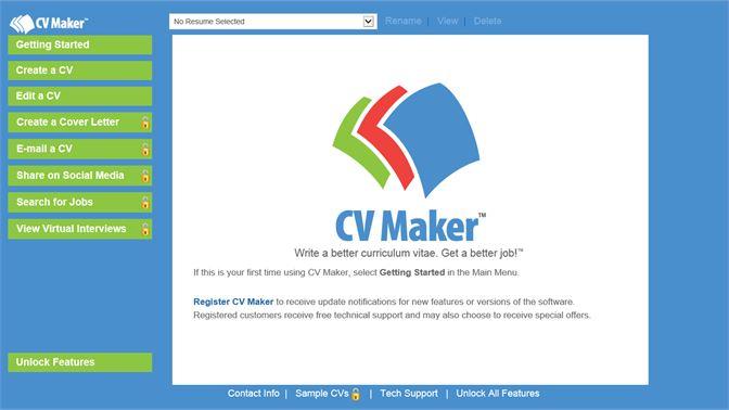 screenshot every tool you need to create a cv is on the main menu